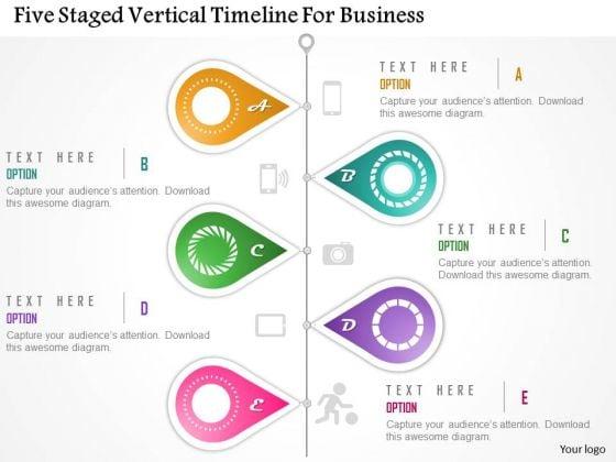 Business Diagram Five Staged Vertical Timeline For Business Presentation Template