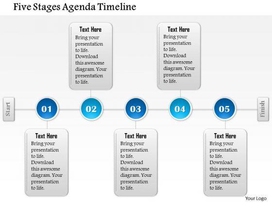 Business Diagram Five Stages Agenda Timeline Presentation Template