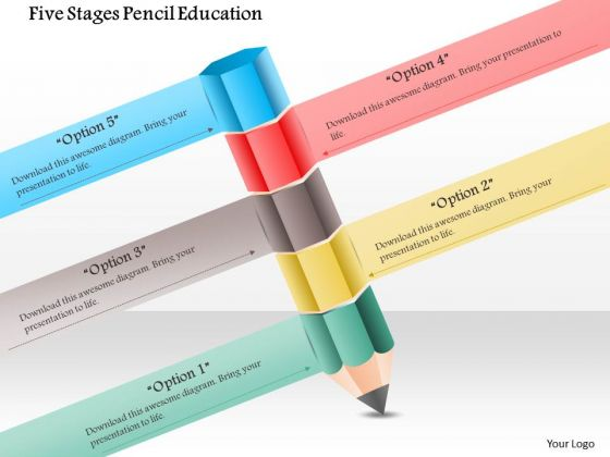 Business Diagram Five Stages Pencil Education Presentation Template
