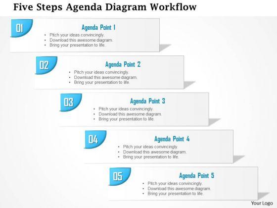 Business Diagram Five Steps Agenda Diagram Workflow Presentation Template