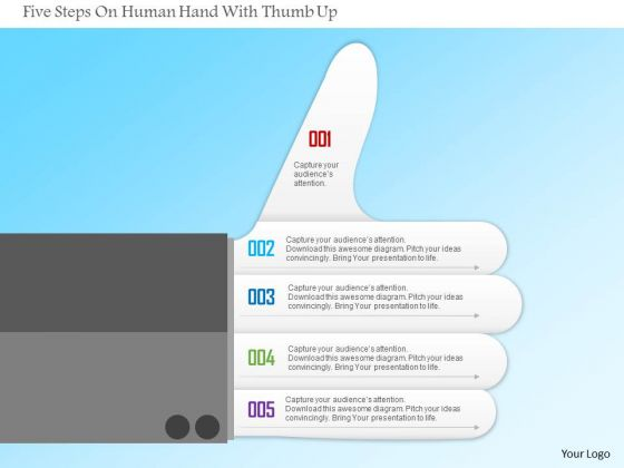 Business Diagram Five Steps On Human Hand With Thumb Up Presentation Template