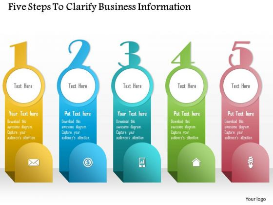 Business Diagram Five Steps To Clarify Business Information Presentation Template