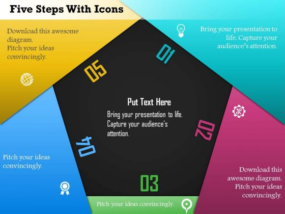 Business Diagram Five Steps With Icons Presentation Template