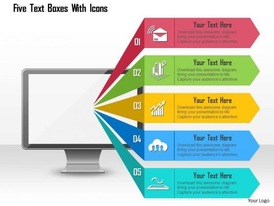 Business Diagram Five Text Boxes With Icons Presentation Template