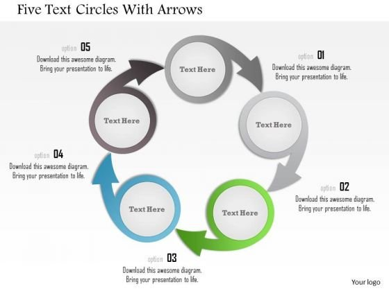 Business Diagram Five Text Circles With Arrows Presentation Template