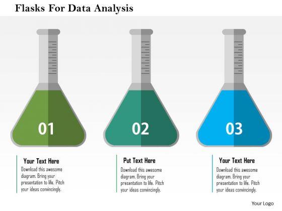 Business Diagram Flasks For Data Analysis Presentation Template