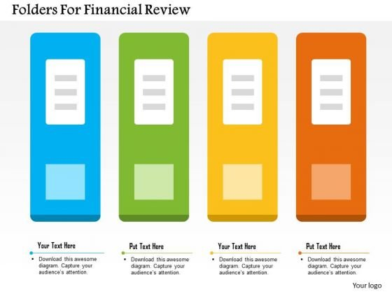 business diagram folders for financial review presentation, Presentation templates