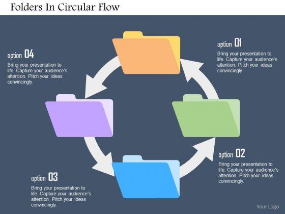 Business Diagram Folders In Circular Flow Presentation Template