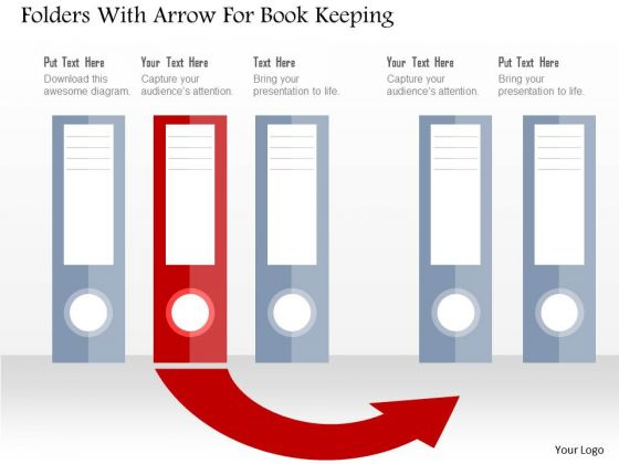 Business Diagram Folders With Arrow For Book Keeping Presentation Template