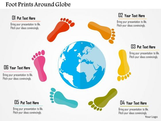 Business Diagram Foot Prints Around Globe Presentation Template