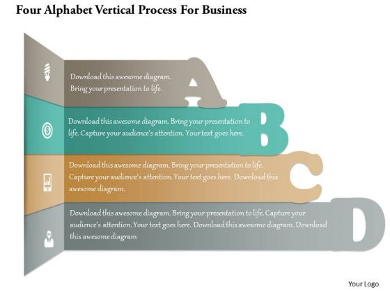 Business Diagram Four Alphabet Vertical Process For Business PowerPoint Template