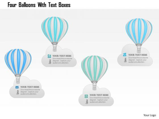 Business Diagram Four Balloons With Text Boxes PowerPoint Template
