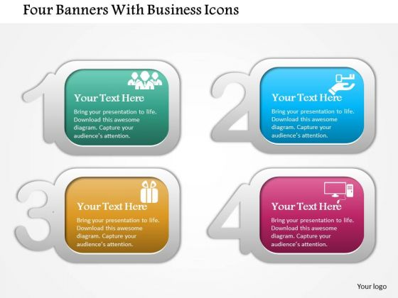 Business Diagram Four Banners With Business Icons Presentation Template