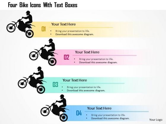 Business Diagram Four Bike Icons With Text Boxes Presentation Template