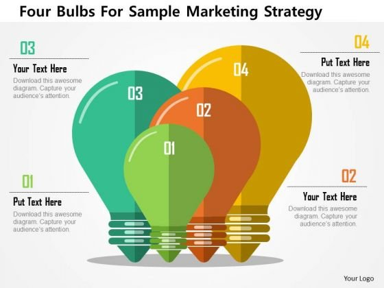 business diagram four bulbs for sample marketing strategy