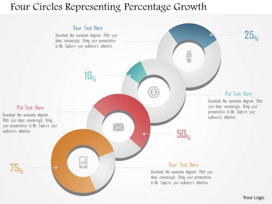Business Diagram Four Circles Representing Percentage Growth Presentation Template