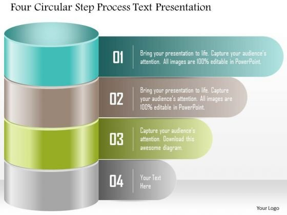 Business Diagram Four Circular Step Process Text Presentation PowerPoint Template