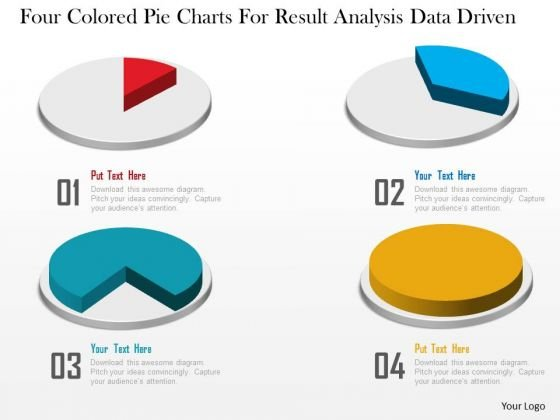 Business Diagram Four Colored Pie Charts For Result Analysis Data Driven PowerPoint Slide