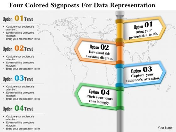 Business Diagram Four Colored Signposts For Data Representation Presentation Template