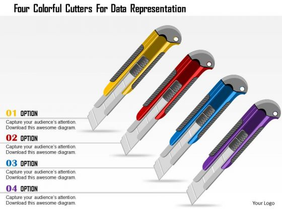 Business Diagram Four Colorful Cutters For Data Representation Presentation Template