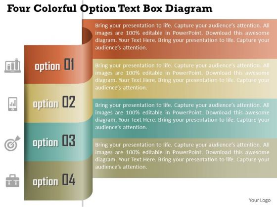 business diagram four colorful option text box diagram, Presentation templates