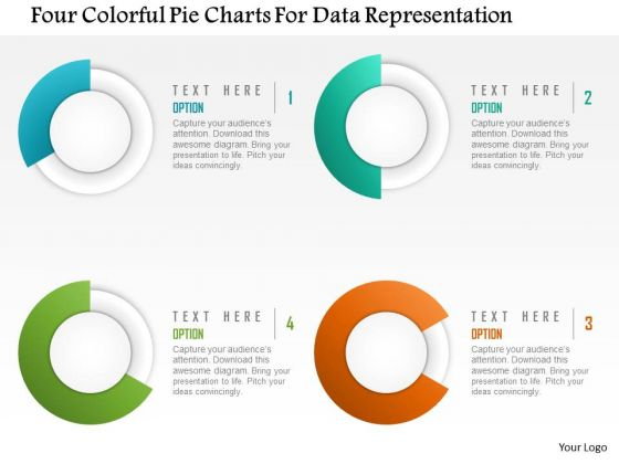 Business Diagram Four Colorful Pie Charts For Data Representation Presentation Template