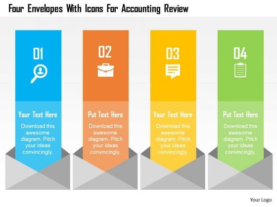 Business Diagram Four Envelopes With Icons For Accounting Review