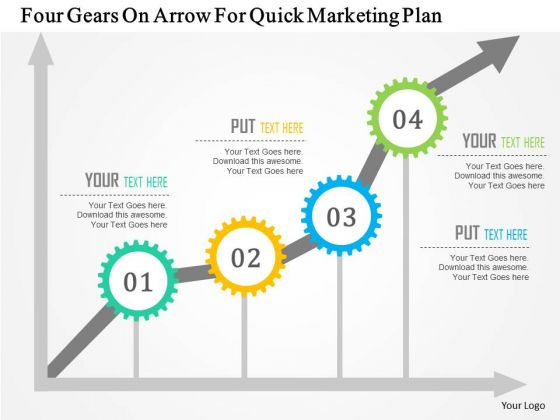 business diagram four gears on arrow for quick marketing plan