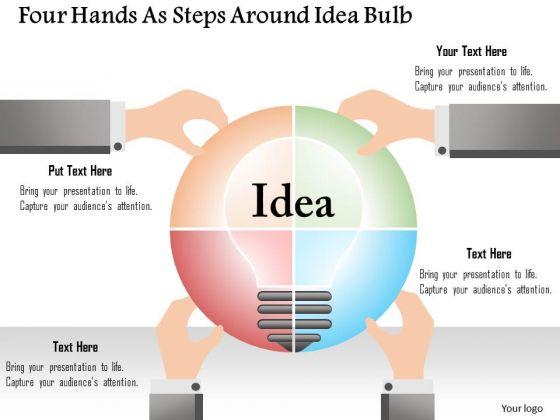 Business Diagram Four Hands As Steps Around Idea Bulb Presentation Template