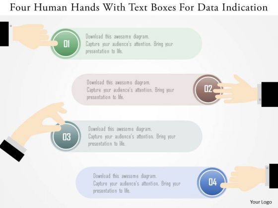 Business Diagram Four Human Hands With Text Boxes For Data Indication Ppt Template