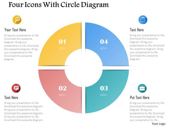 Business Diagram Four Icons With Circle Diagram Presentation Template