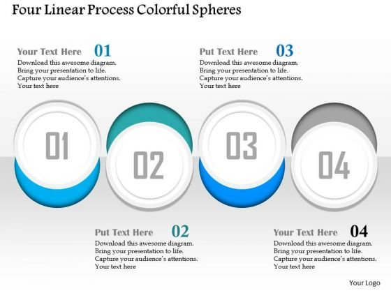 Business Diagram Four Linear Process Colorful Spheres Presentation Template