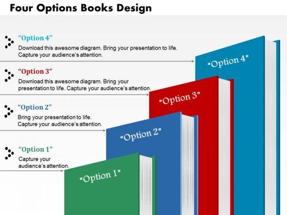 Business Diagram Four Options Books Design Presentation Template
