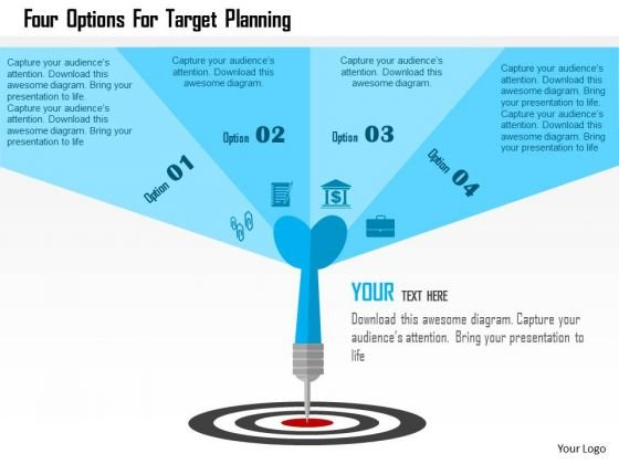 Business Diagram Four Options For Target Planning Presentation Template