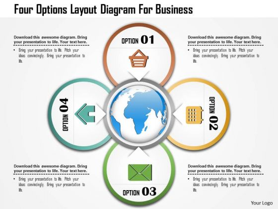 Business Diagram Four Options Layout Diagram For Business Presentation Template