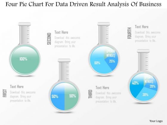 Business Diagram Four Pie Chart For Data Driven Result Analysis Of Business PowerPoint Slide