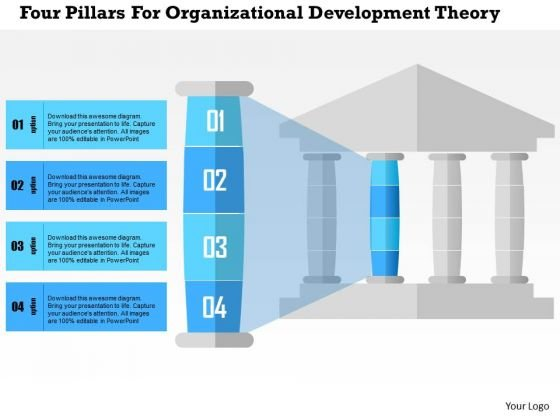 Business Diagram Four Pillars For Organizational Development Theory Presentation Template