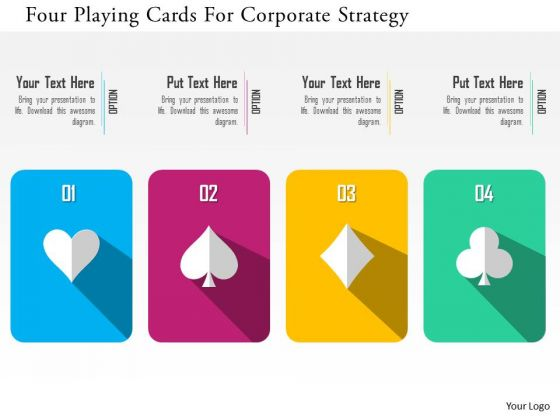 Business Diagram Four Playing Cards For Corporate Strategy Presentation Template