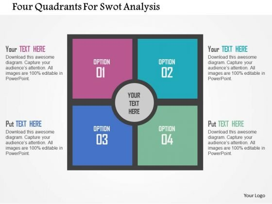 Business Diagram Four Quadrants For Swot Analysis Presentation Template