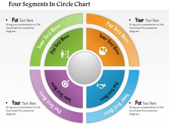 Business Diagram Four Segments In Circle Chart Presentation Template