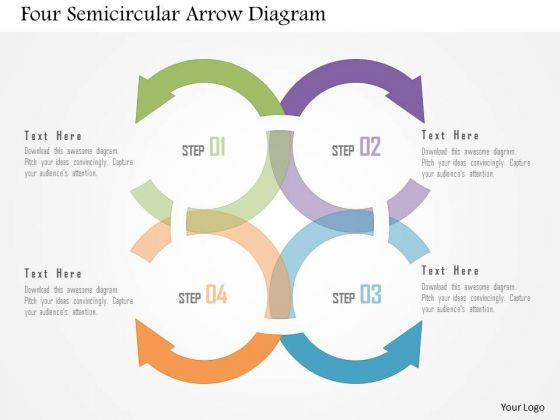 Business Diagram Four Semicircular Arrow Diagram Presentation Template