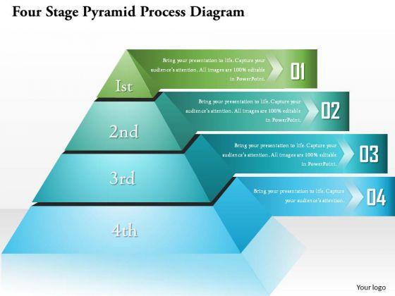 business diagram four stage pyramid process diagram presentation