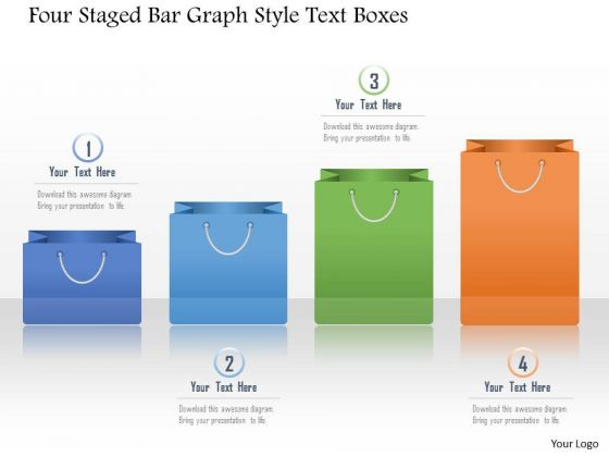 Business Diagram Four Staged Bar Graph Style Text Boxes Presentation Template