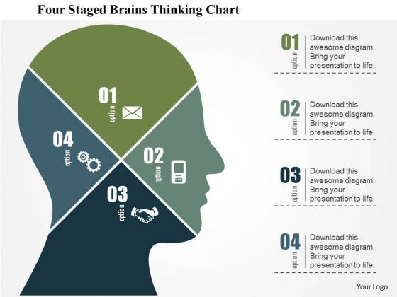Business Diagram Four Staged Brains Thinking Chart Presentation Template