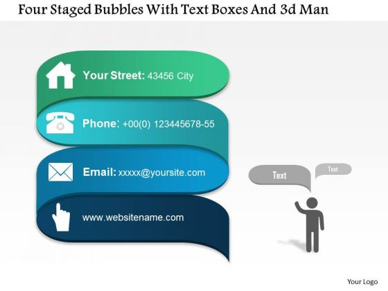 Business Diagram Four Staged Bubbles With Text Boxes And 3d Man Presentation Template