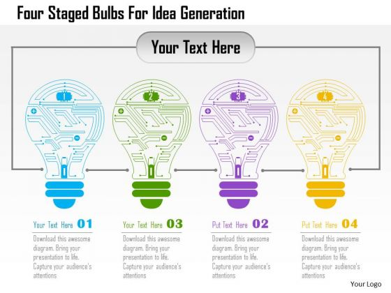 Business Diagram Four Staged Bulbs For Idea Generation Presentation Template