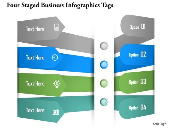 Business Diagram Four Staged Business Infographics Tags Presentation Template