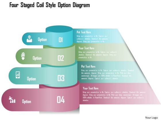 Business Diagram Four Staged Coil Style Option Diagram Presentation Template