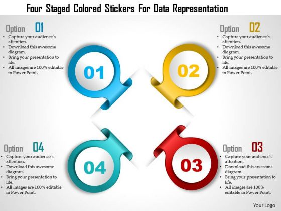 Business Diagram Four Staged Colored Stickers For Data Representation Presentation Template