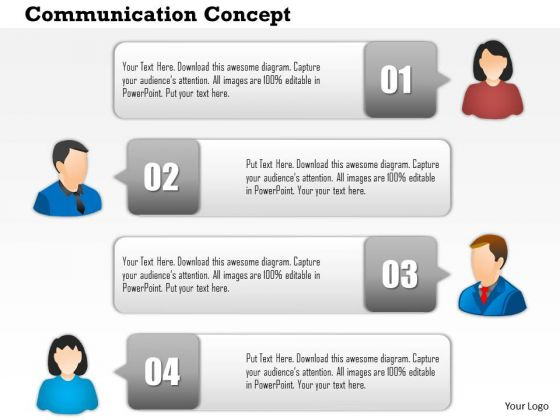 Business Diagram Four Staged Communication Text Boxes Presentation Template